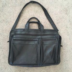 COMP-U-POUCH Black Leather Unisex Briefcase